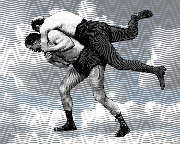 Cloud Wrestlers (2017). Digital - retrocollage | ello
