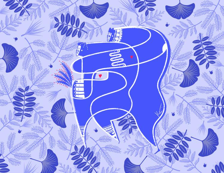 Blue Love - love, illustration - karenaguilar | ello