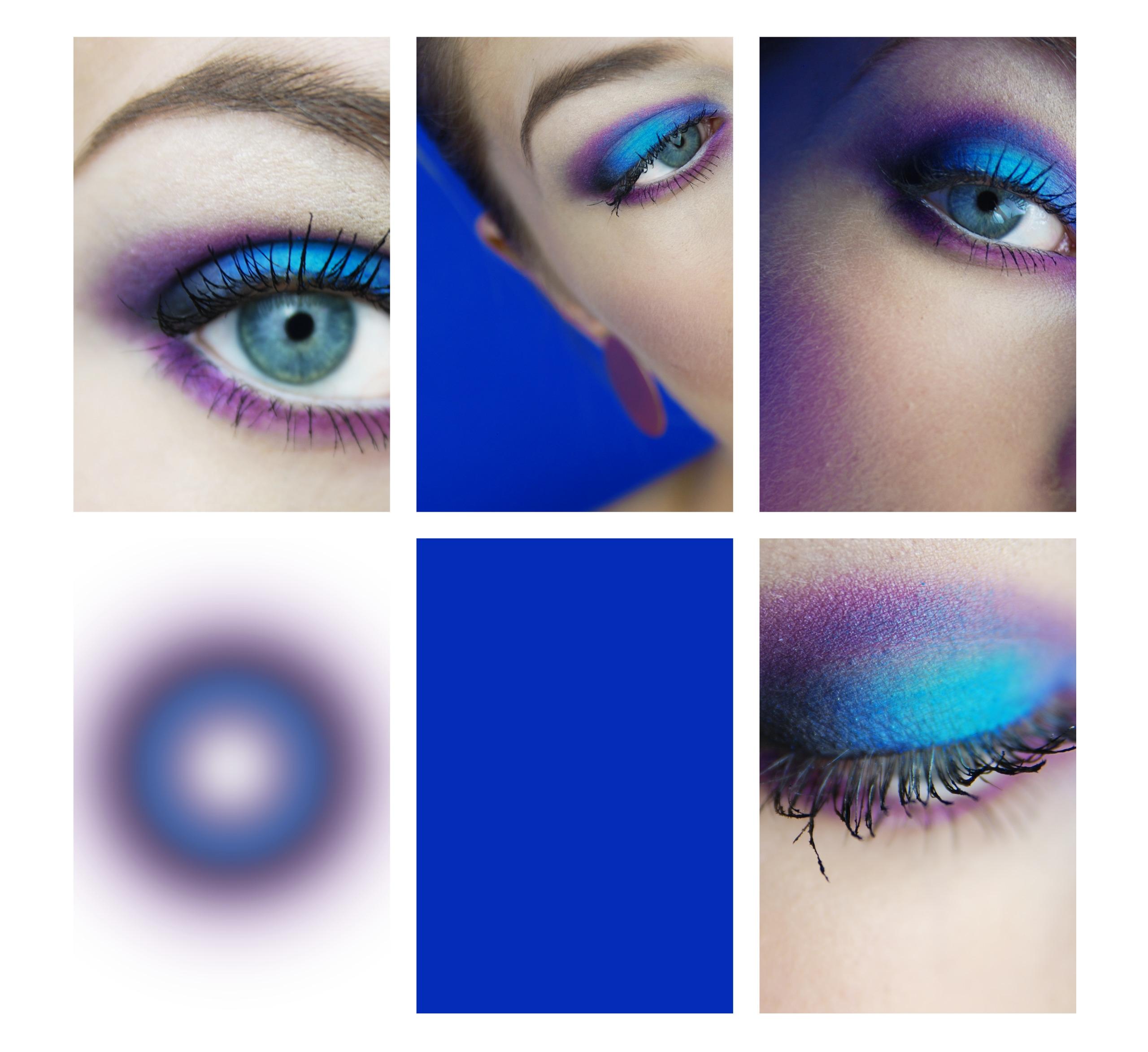 Zdjęcie podzielone jest na sześć części. Cztery z nich przedstawiają oczy młodej kobiety w makijażu w kolorach niebiesko-fioletowych. Jedno z nich jest w całości wypełnione kolorem niebieskim, a jedno z nich przedstawia rozmyte koło w kolorach niebiesko-fioletowych.