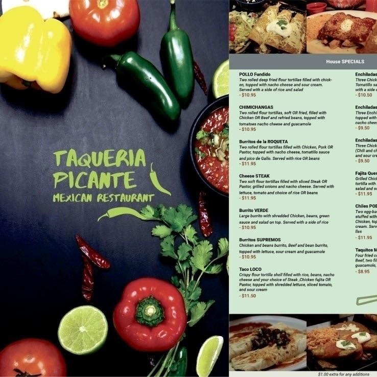 Taqueria Picante Menu Design - ochena_design - ochena_design | ello