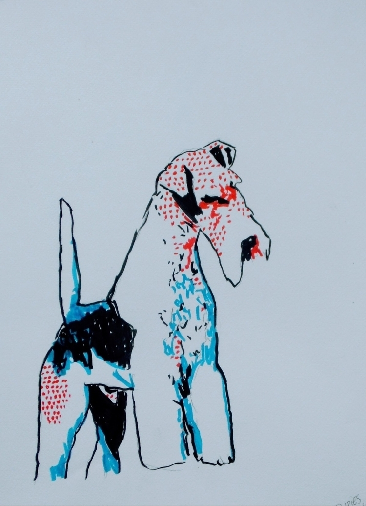 foxterrier, dog, popart, dogs - kleckerlabor | ello