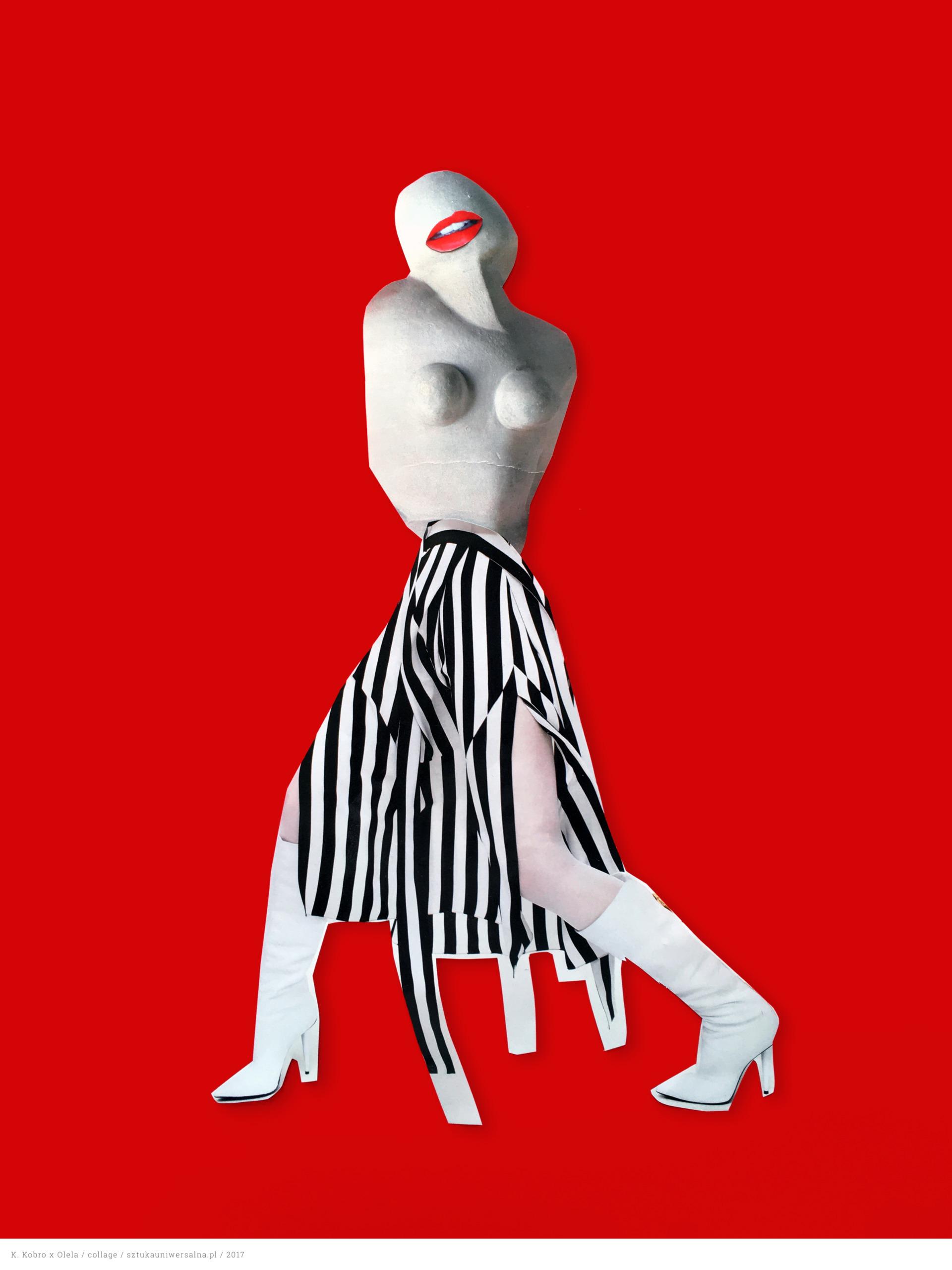Zdjęcie przedstawia papierowy kolaż na czerwonym tle, gdzie widnieje postać idącej kobiety, której tułów to rzeźba. Kobieta ma czerwone usta, spódnicę w czarno-białe pionowe pasy i białe kozaki.