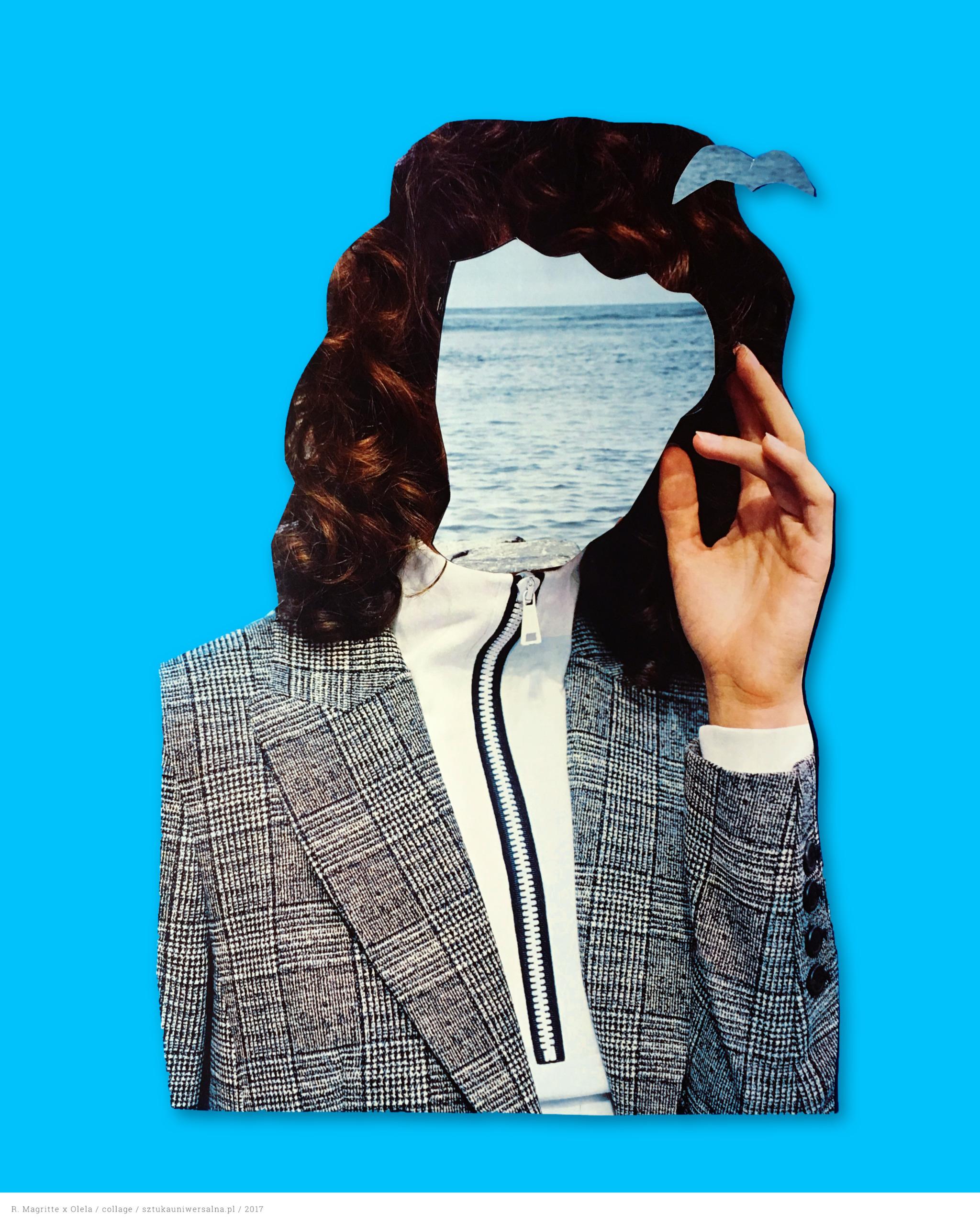 Zdjęcie przedstawia papierowy kolaż na niebieskim tle przedstawiający popiersie kobiety, gdzie kobieta wykonuje gest dotykania głowy. Kobieta zamiast twarzy ma krajobraz morza.