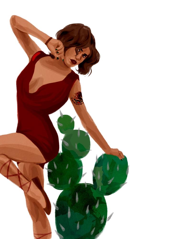 Daily Sketch - Mexicana, cacti, pinup - cariguevara | ello