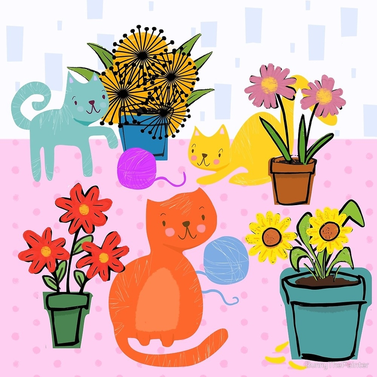 Curious Cats painting full inte - littlebunnysunshine   ello