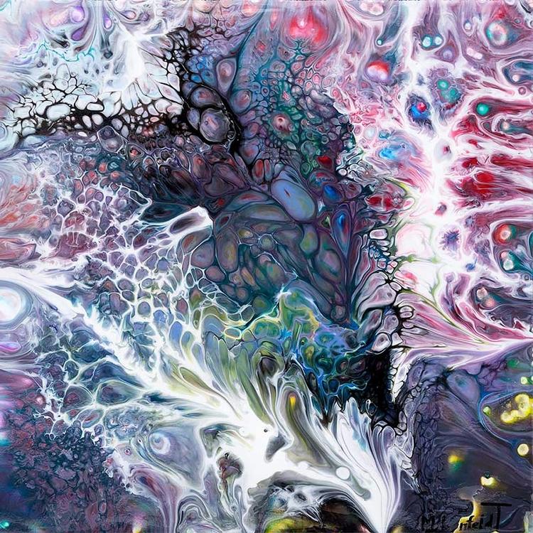 Organic Abstract painting 40x40 - artbylonfeldt | ello
