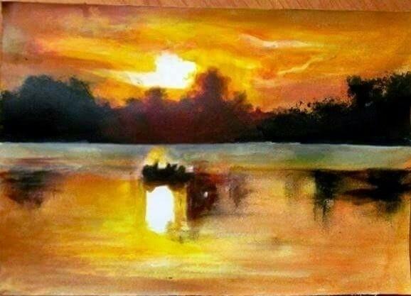 tempera, acrilic, landscape, sunset - atasieigeo | ello