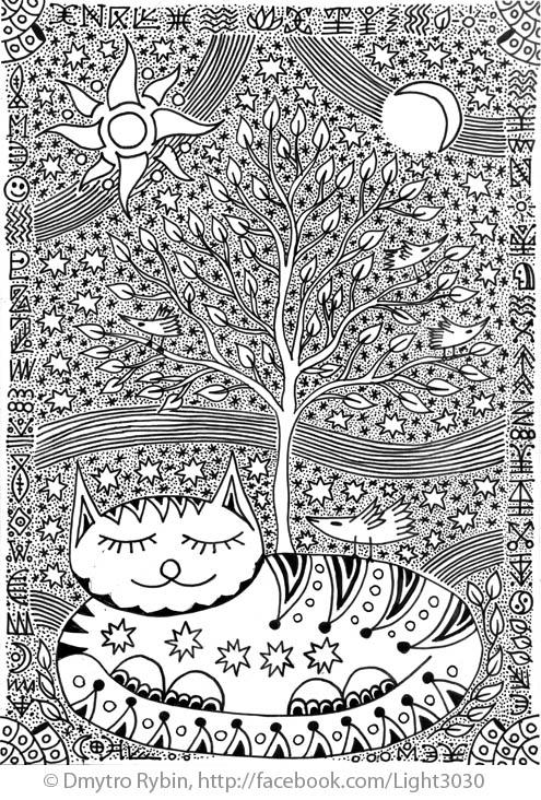 Cat tree life - cat, sleeping, treeoflife - dmytroua | ello