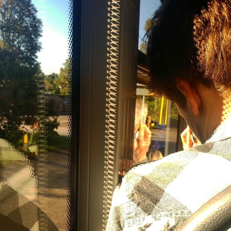 Bus window portrait - morning, commute - ourworldmyeye | ello