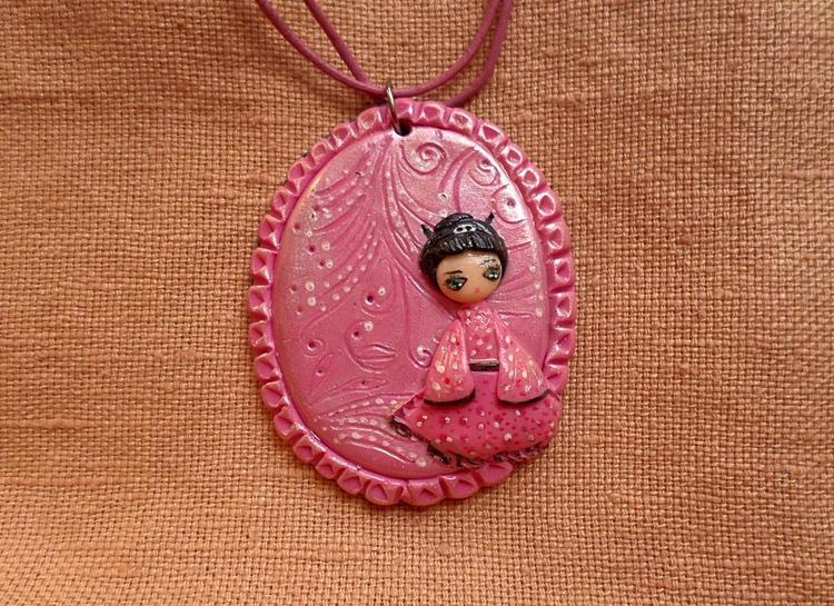 Lovely geisha pendant - kawaii, cute - thefluffandpurr | ello