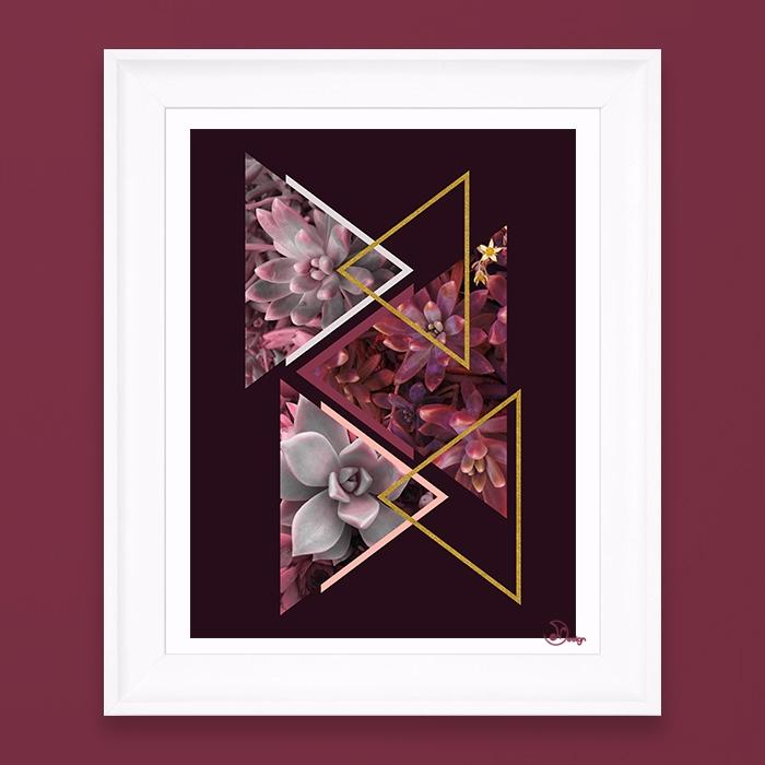 Wine Succulents Elegant abstrac - designdn | ello