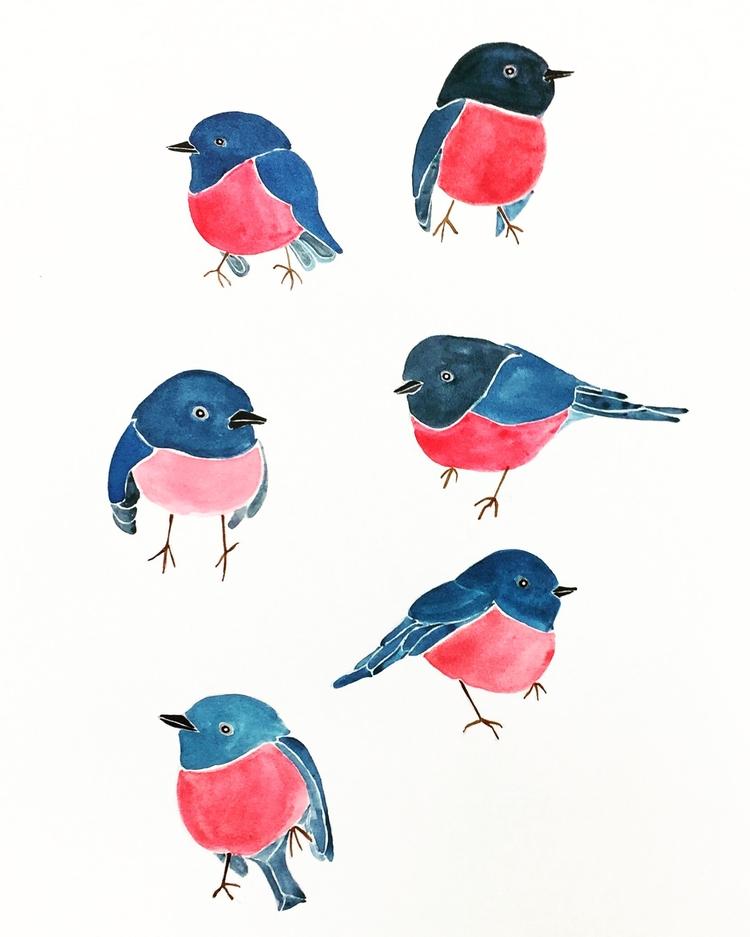 Pink robins - illustration, art - igimidraws | ello