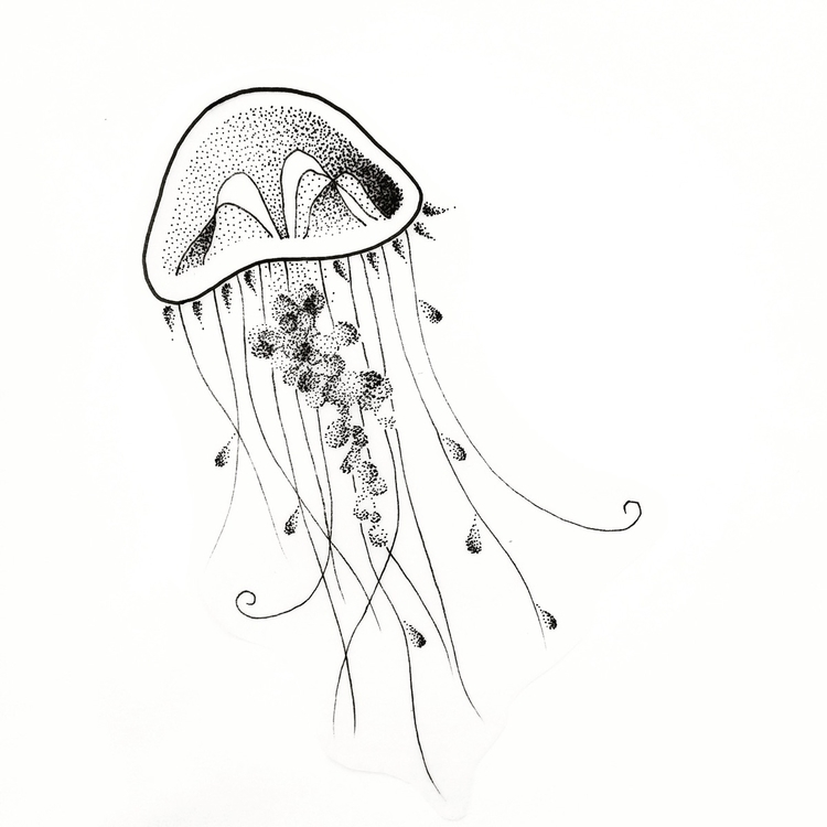 Dotwork jellyfish - dotwork, minimal - bymosler | ello