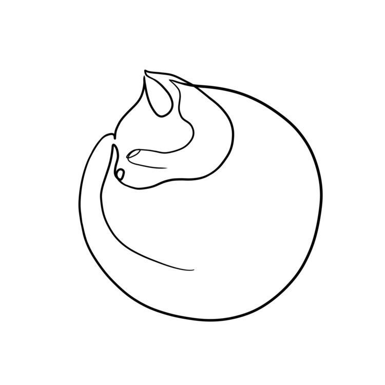 Sleepy cat. Single line - singleline - bymosler | ello