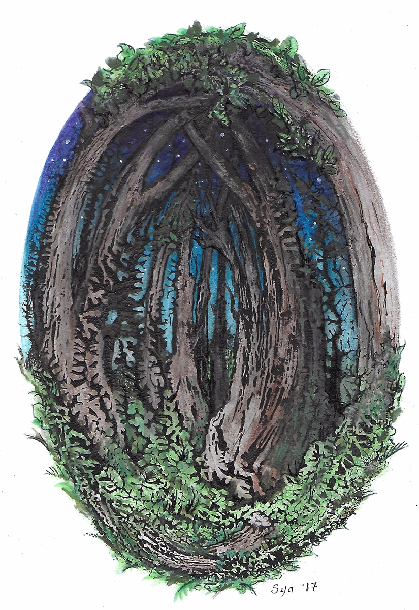 4x6 painting, Dendritic Forest  - sya | ello