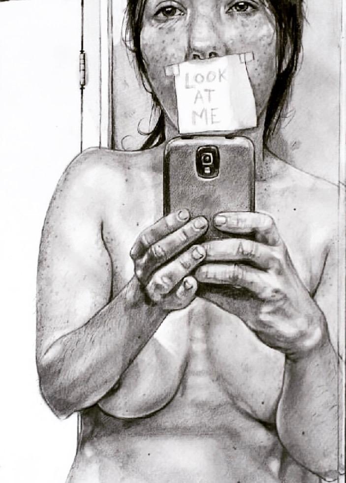 selfie, drawing - caseypromise | ello