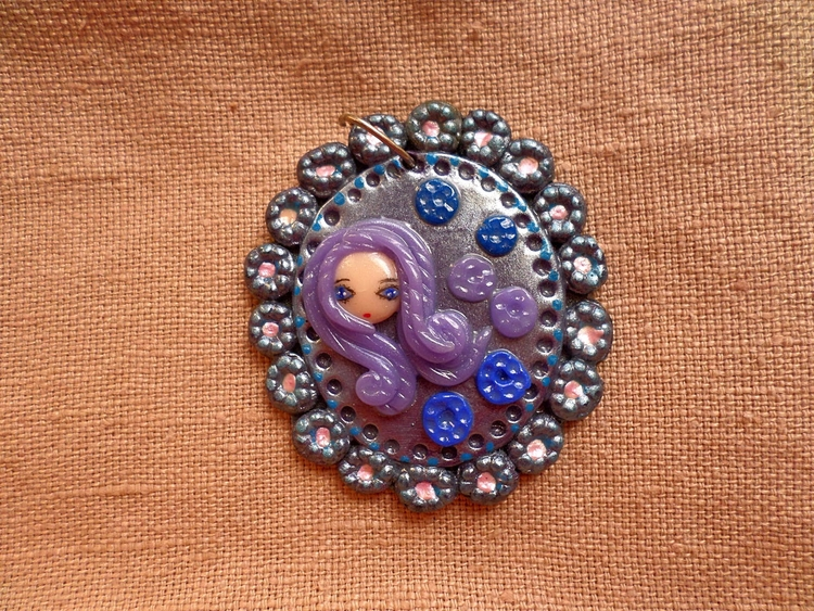 girl clouds - necklace, clay, kawaii - thefluffandpurr | ello
