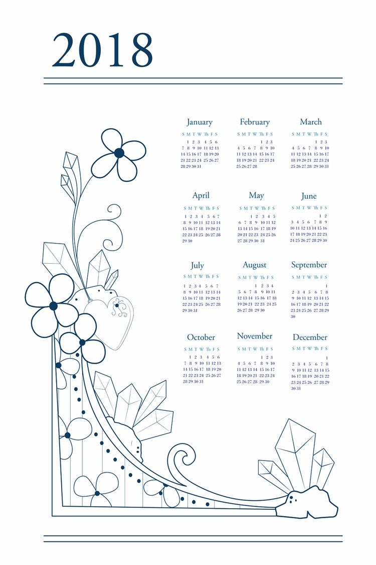 Flowers crystals. 2018 calendar - svaeth | ello