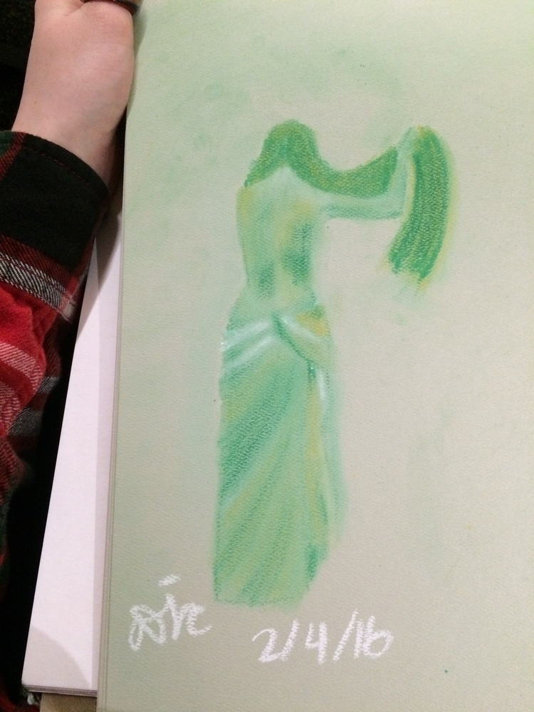 partial - pastels, green, drawing - enthusiasticnodding | ello