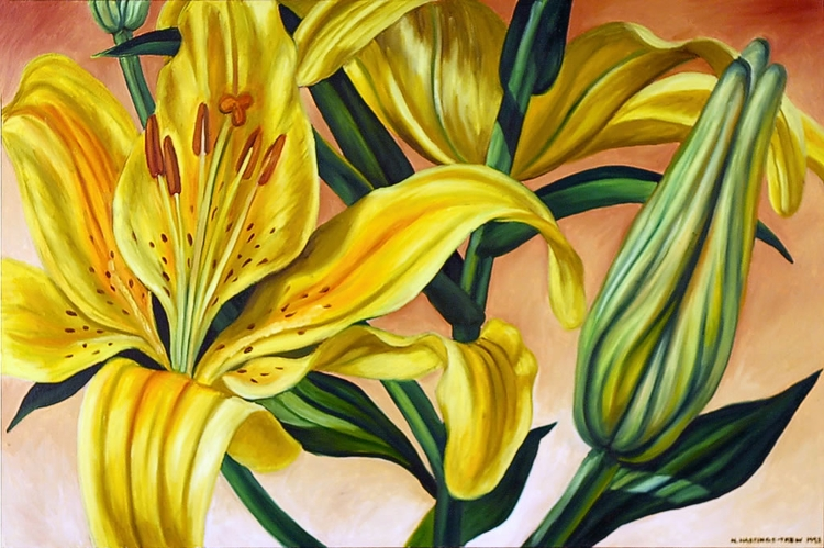 Yellow Lilies 1993, 20X30, oil  - nancyht | ello