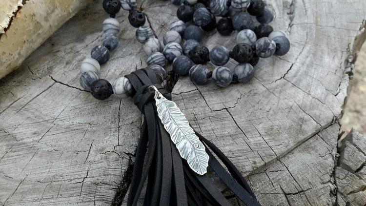 Spiderweb Jasper Mala handmade  - dangbravegirl | ello