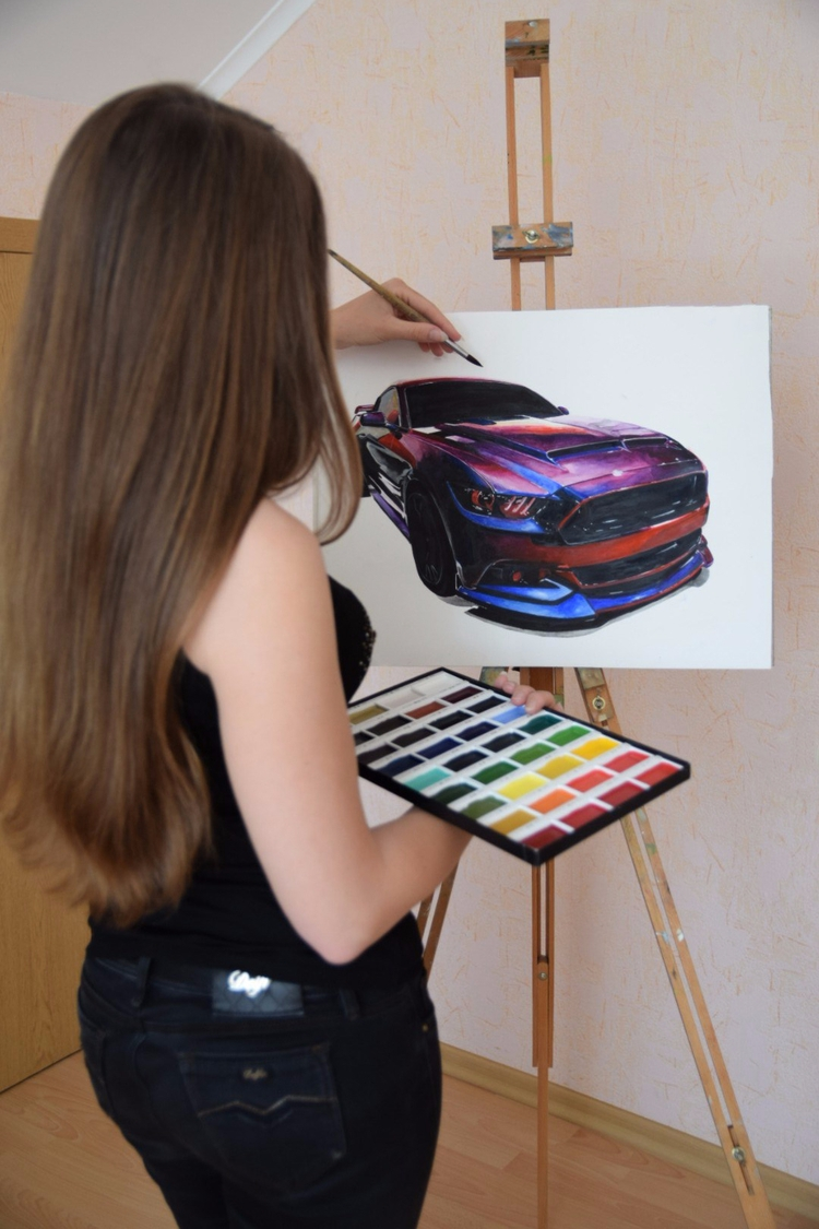 drawing process - fordmustang, ford - rufinaartisr | ello