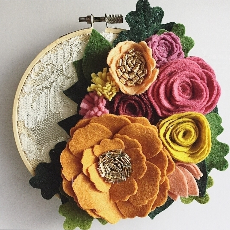 Lace Hoop Art - felt, feltflowers - yanadesigns | ello