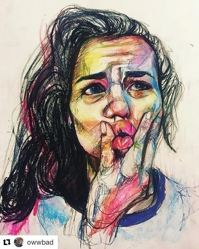 Portrait - gesture, pastel, chalk - maubad   ello