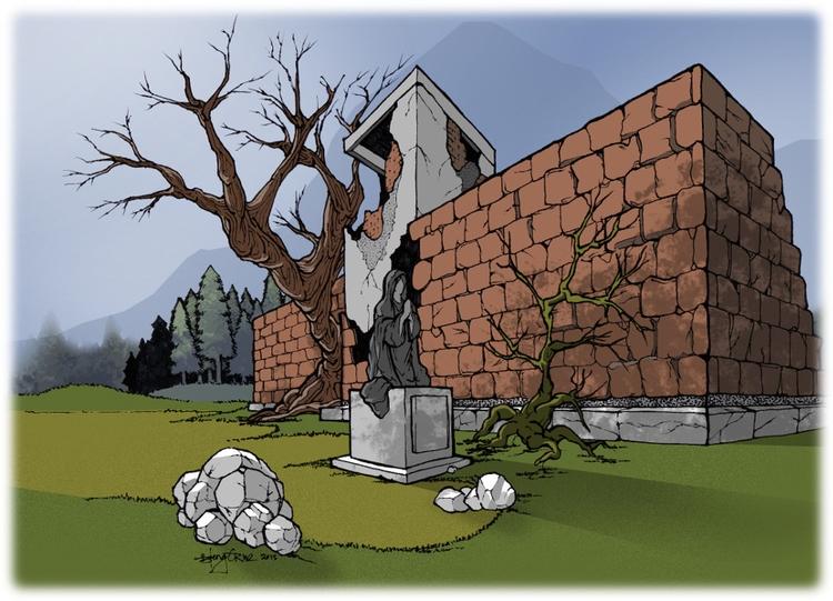"2015, ""Ruins Pine Forest"" Ink p - samhain13 | ello"