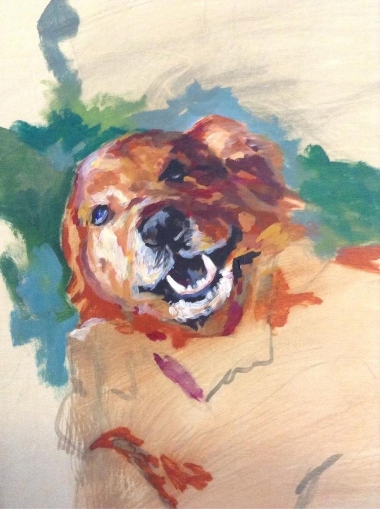 pet portrait WIP painting - painter - meatballvizzy | ello