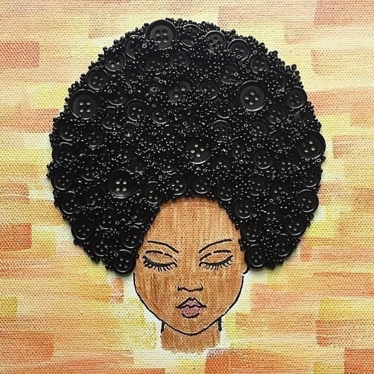 8 canvas - Girl button afro - buttonart - yanadesigns | ello
