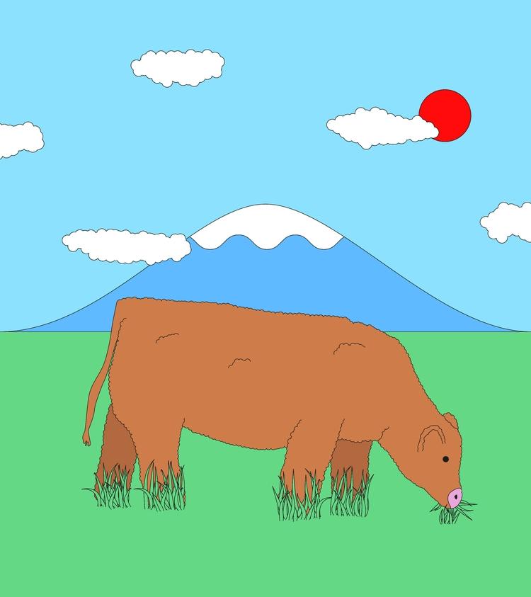 Water bottle landscape - cow, illustration - molonom | ello