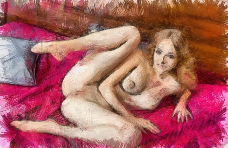 fineart, nude, nsfw, pencil - bloodredpulse | ello