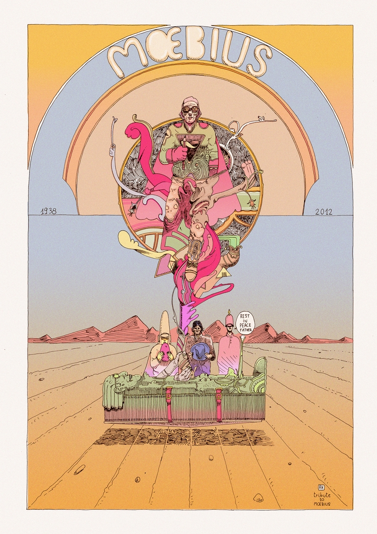 Tribute Moebius - art, illustation - akenoomokoto | ello
