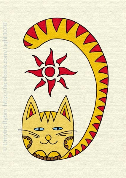 Cat Sun - cat, sun, drawing, picture - dmytroua | ello