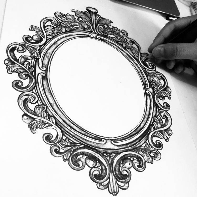 work ! Graphite frame book - illustration - freshmilkart | ello