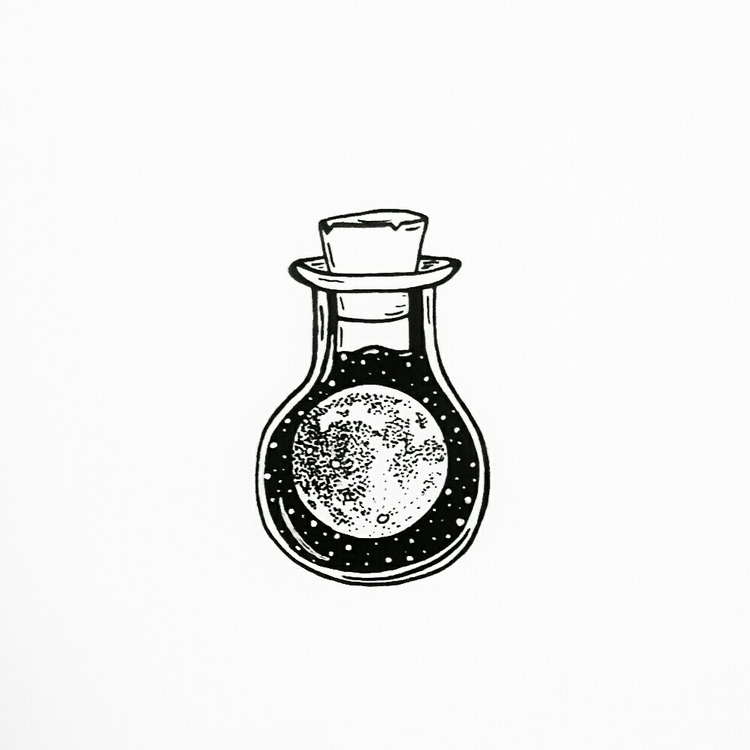 Bottled moon day 4 - inktober, illustration - moonflux_studio | ello