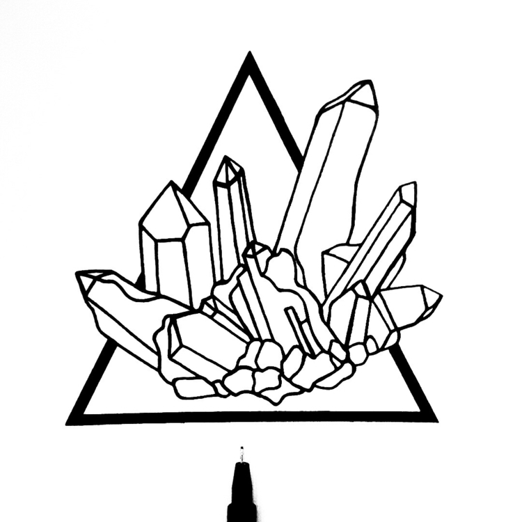 crystals, illustration, blackwork - moonflux_studio | ello