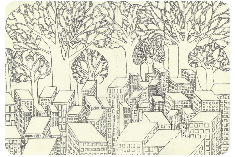 bigger trees - inktober, city, scale - catswilleatyou | ello