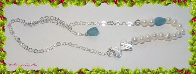 Sterling double hearts pearls n - stellasjewelryart | ello