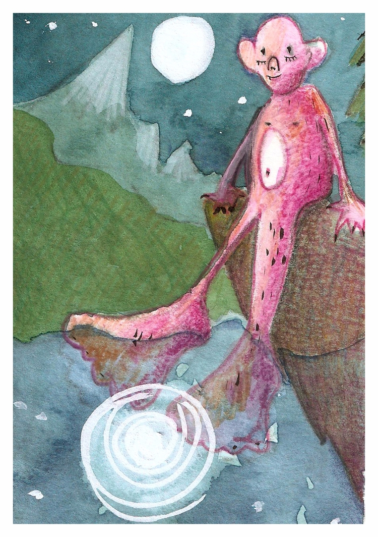BigFoot - bigfoot, moon, illustrationoftheday - kseyes_illustration   ello