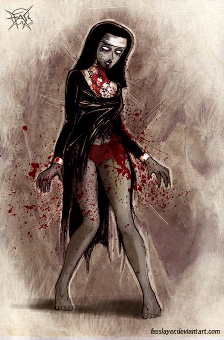 17-10-9 - zombienun, zombie, horrorart - fasslayer | ello