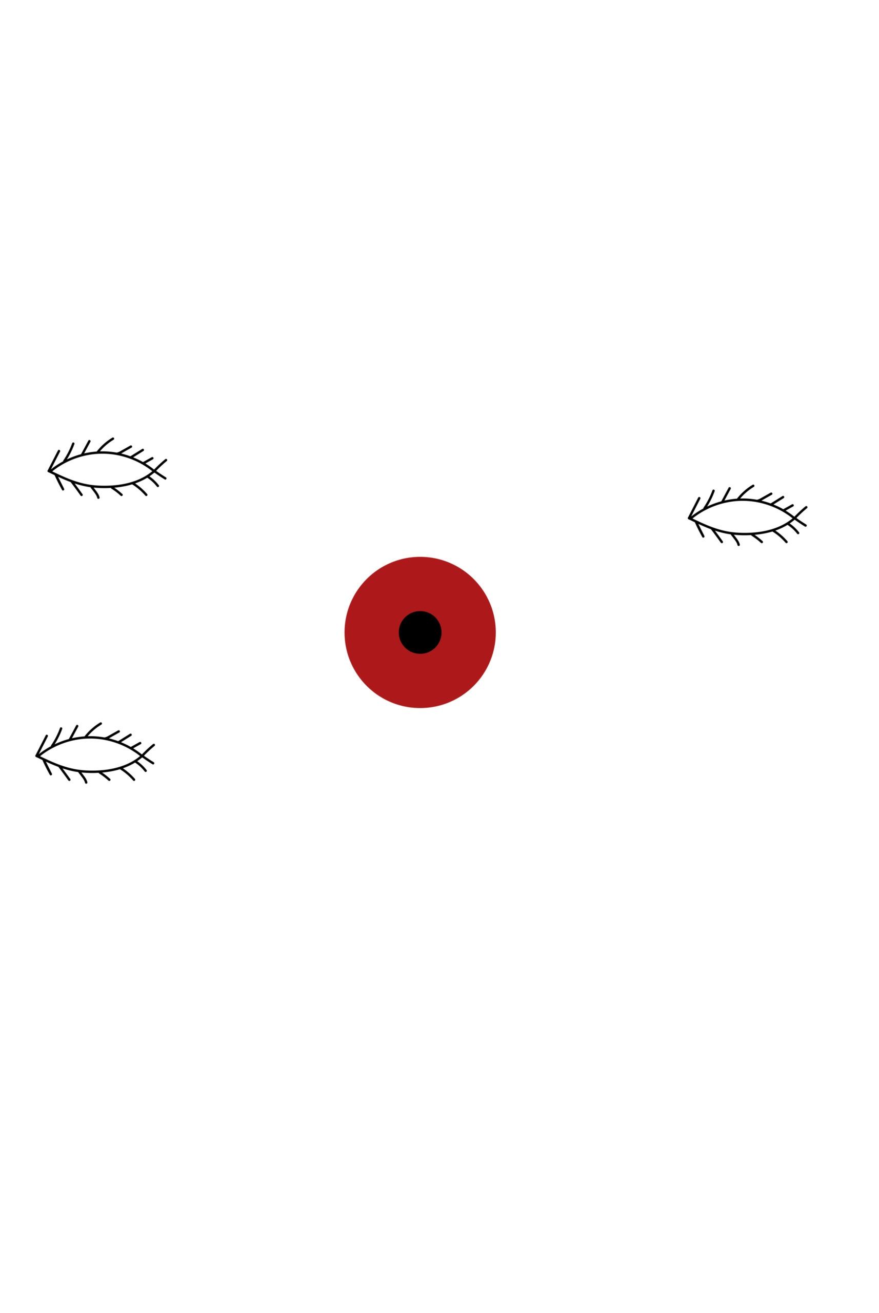 Obrazek przedstawia czerwone koło z czarnym kołem wewnątrz, oraz trzy niezidentyfikowane kształty obok kół.