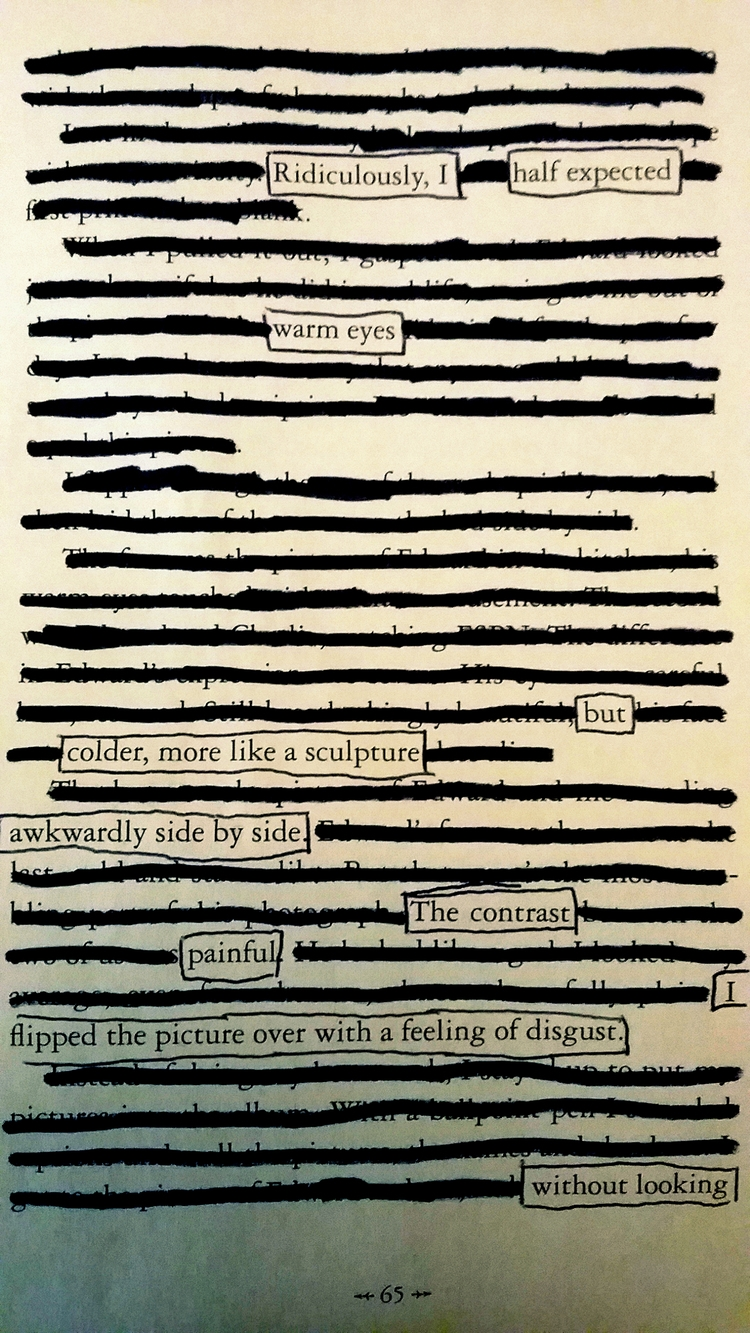 blackout poem created writing c - llycea | ello