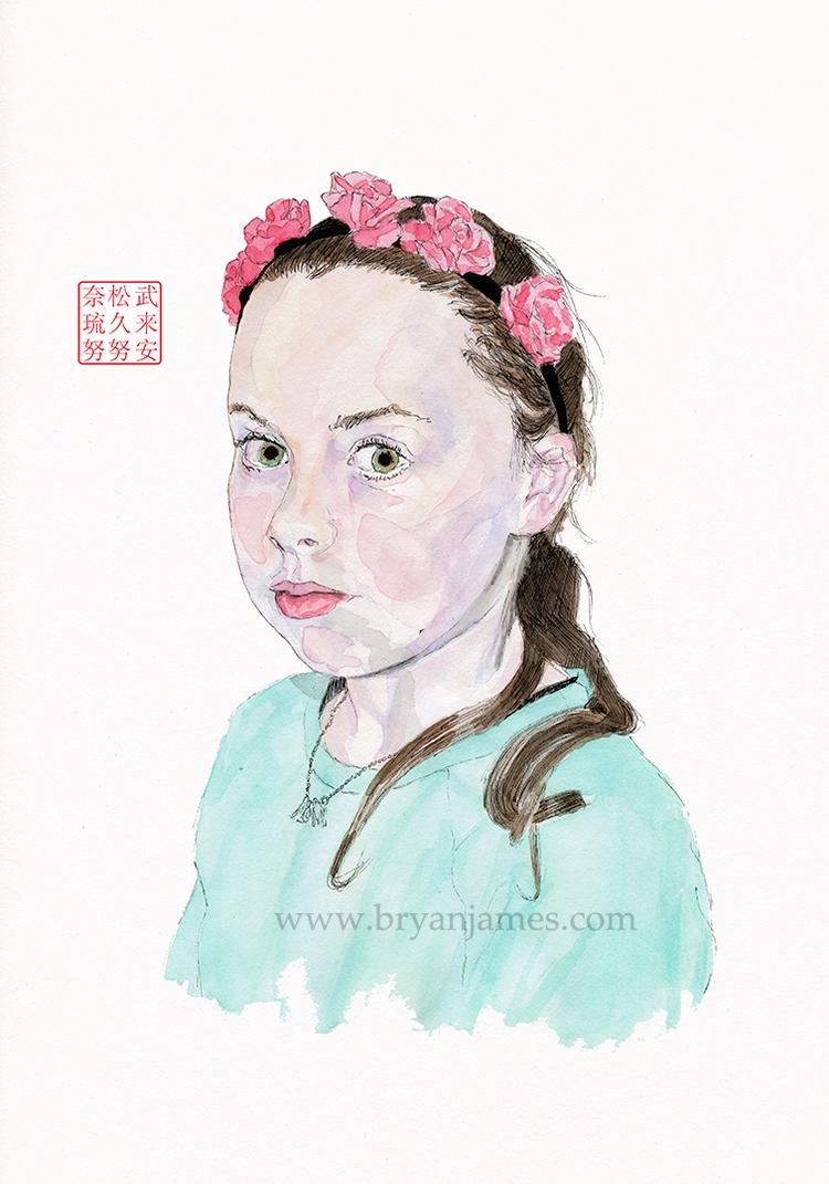 Portrait twelve year girl - wat - bryanjamesart | ello