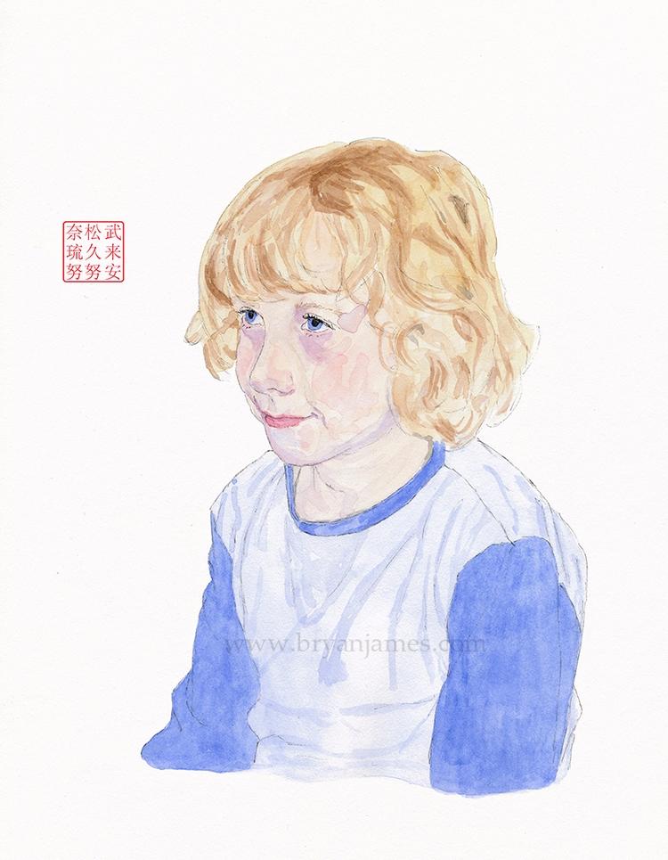 Portrait year boy - watercolour - bryanjamesart | ello