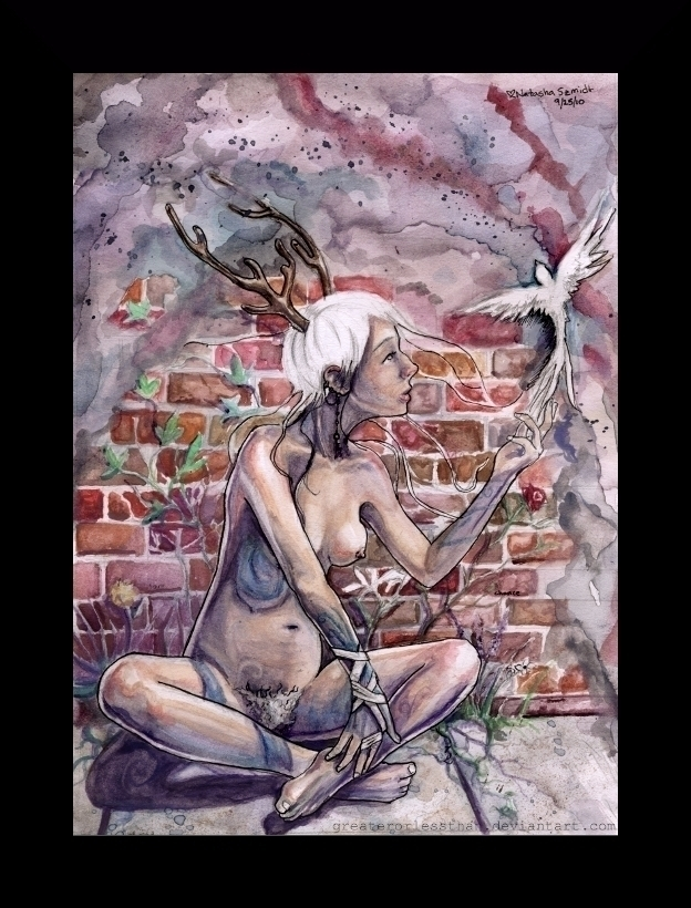 Love - nude, fairy, surreal, watercolor - moonskittles | ello