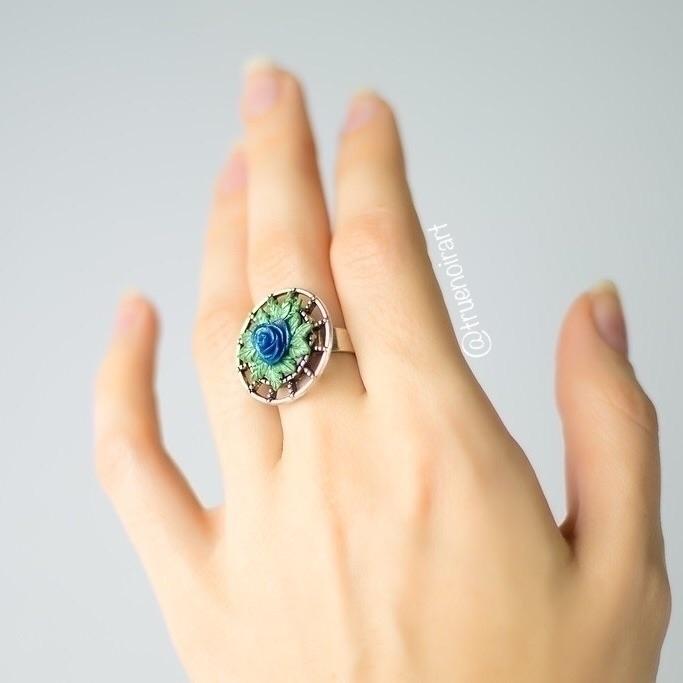 Enchanted blue rose ring Etsy s - truenoir | ello