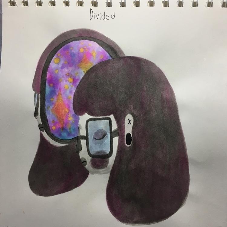 Day 2: Divided - inktober, illustration - sadsadgirl | ello