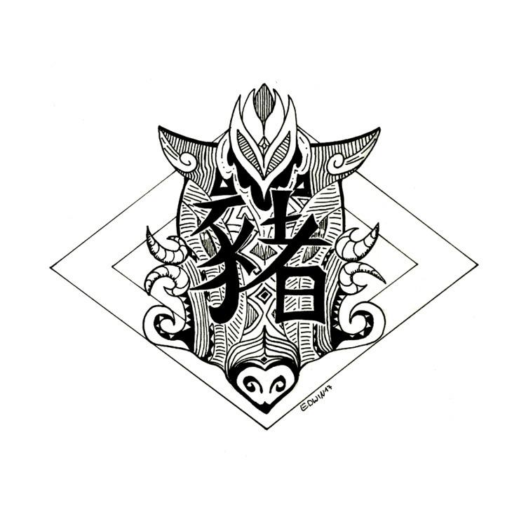 Inktober - fat (chinese zodiac  - edwln | ello